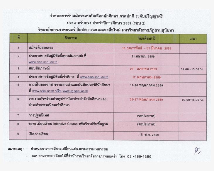 รับตรง59 วิทยาลัยการภาพยนตร์ฯ ราชภัฏสวนสุนันทา 2559 (รอบ 2)