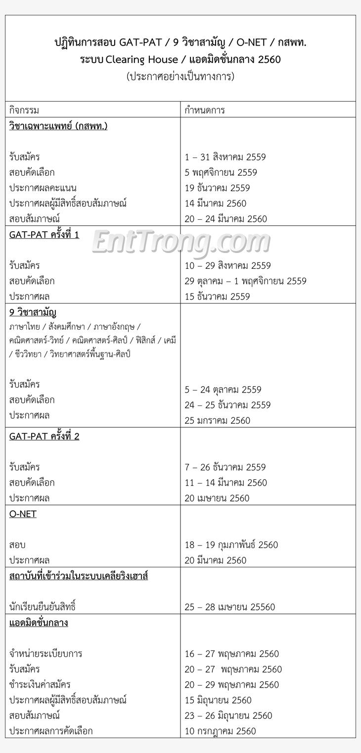 ปฏิทิน60 GAT-PAT / วิชาสามัญ / O-NET / กสพท / Clearing House / Admission 2560