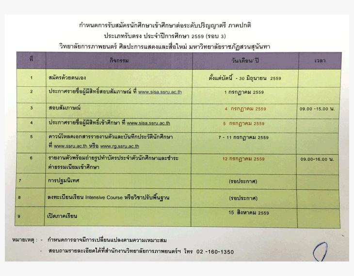 รับตรง59 วิทยาลัยการภาพยนตร์ฯ ราชภัฏสวนสุนันทา 2559 (รอบ 3)