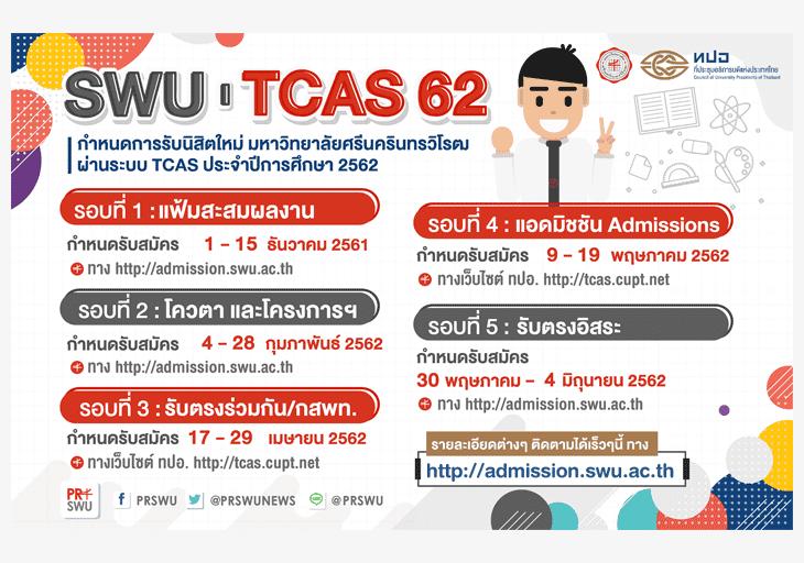 ปฏิทินรับตรงTCAS62 มหาวิทยาลัยศรีนครินทรวิโรฒ 2562