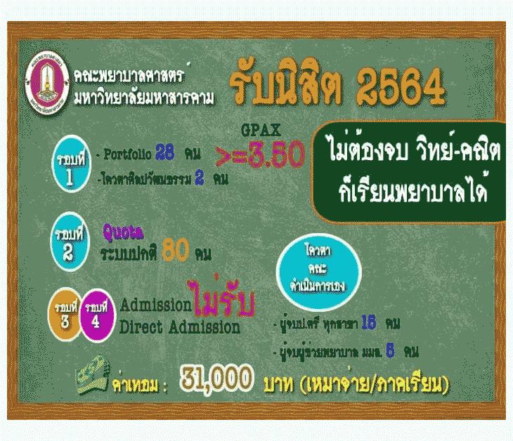 TCAS64 คณะพยาบาลศาสตร์ ม.มหาสารคาม 2564